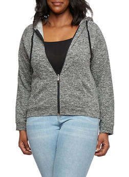 Plus Size Marled French Terry Hoodie - 3951054265720