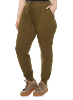 Plus Size Joggers with Drawstring Waist - 3951054265776