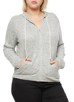 Plus Size Marled Soft Knit Zip Front Hoodie - 3951054266890