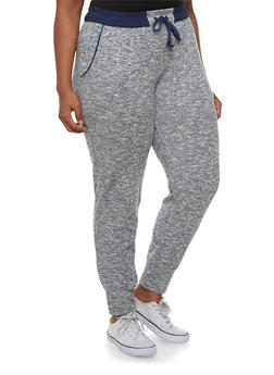 Plus Size Marled French Terry Joggers - 3951054267803