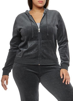 Plus Size Velour Zip Front Hooded Sweatshirt - 3951054268906