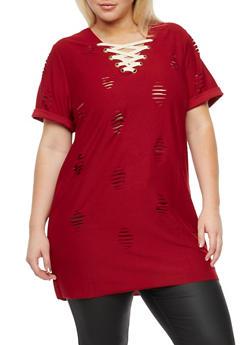 Plus Size Laser Cut Lace Up Tunic Top - 3951058930202
