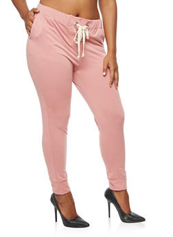 Plus Size Lace Up Elastic Sweatpants - 3951058930413