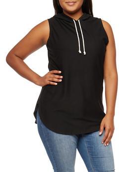 Plus Size Sleeveless Hooded Tunic - 3951058931013