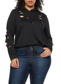 Plus Size Laser Cut Hooded Top - 3951058931050