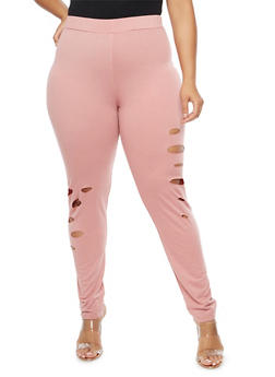 Plus Size Laser Cut Leggings - 3951058931061