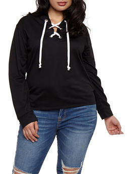 Plus Size Lace Up Hoodie - 3951058933133