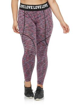 Plus Size Love Graphic Print Space Dye Leggings - 3951063400070