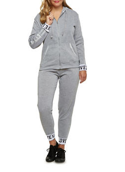 Plus Size Fleece Hoodie with Love Print - 3951063400509