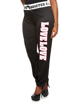Plus Size Addicted 2 Love Embossed Jogger Pants with Love Love Graphic,BLACK,medium