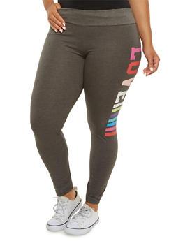 Plus Size Color Block Leggings with Love Graphic - 3951063402056