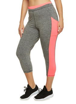 Plus Size Performance Capri Leggings with Neon Trim - 3951063402331