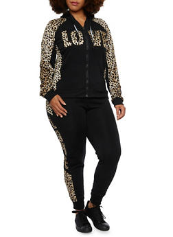 Plus Size Zip Front Hoodie with Leopard Print and Love Graphic - 3951063402507