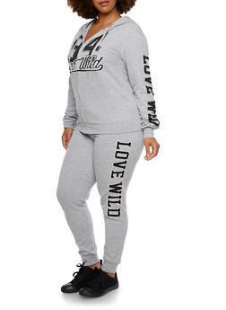 Plus Size Love Wild 94 Print Hoodie - 3951063402509