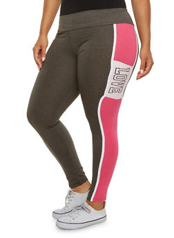 Plus Size Love Graphic Activewear Leggings - 3951063402530