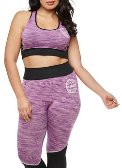 Plus Size Space Dye Sports Bra with Mesh Insert - 3951063405170