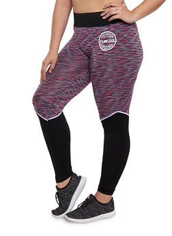 Plus Size Color Block Space Dye Leggings - 3951063405171
