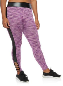 Plus Size Marled Lattice Detail Leggings - 3951063405174