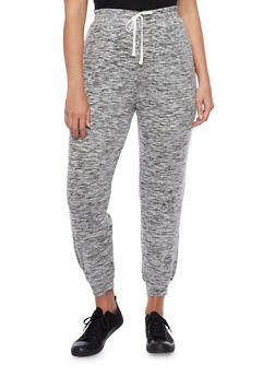 Plus Size Soft Marled Knit Joggers with Drawstring - 3961001443671