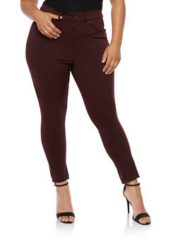 Plus Size Zip Front Jeggings - 3961038342601