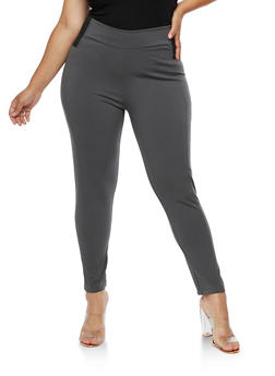 Plus Size Solid Ponte Pants - 3961038342602