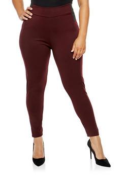 Plus Size Solid Ponte Pants - 3961038342602