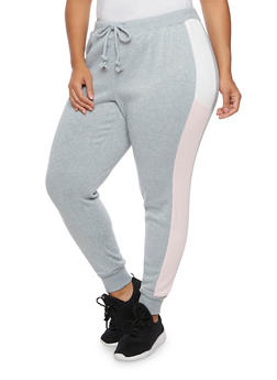 Plus Size Joggers with Color Block Side Stripes - 3961051063399