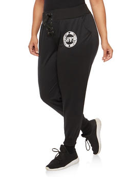 Plus Size Love Graphic Lace Up Sweatpants - 3961051063526