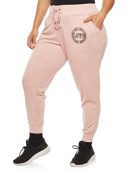 Plus Size Love Graphic Lace Up Sweatpants - 3961051063526