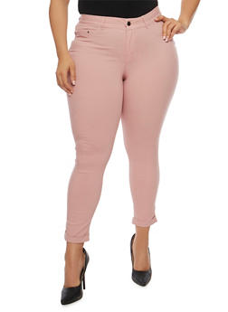 Plus Size Rolled Cuff Stretch Knit Pants - 3961056571991