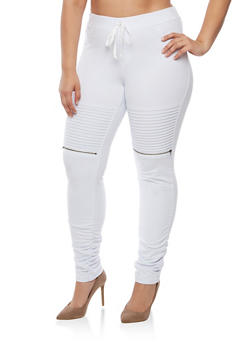 Plus Size Solid Moto Ruched Joggers - WHITE - 3961056572245