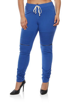 Plus Size Solid Moto Ruched Joggers - 3961056572245