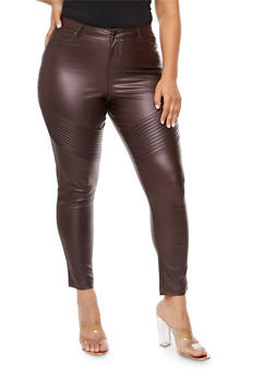 Plus Size Coated Moto Skinny Jeans - 3961056577019
