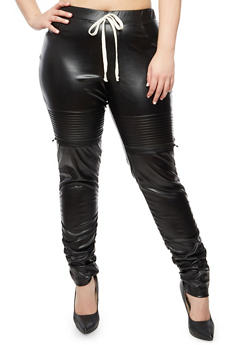 Plus Size Faux Leather Ruched Joggers - 3961056577021