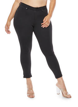 Plus Size Solid Jeggings - 3961056578815