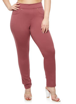 Plus Size Pull On Solid Pants - 3961056578820