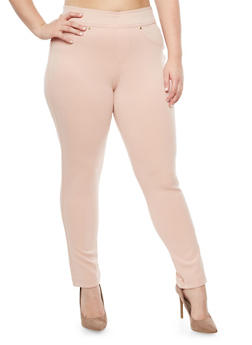 Plus Size Pull On Solid Pants - MISTY ROSE - 3961056578820