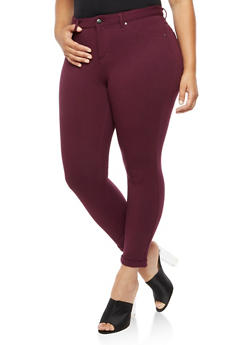 Plus Size Solid Stretch Jeggings - 3961056578915