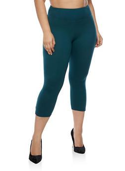 Plus Size Capri Leggings with Lattice Mesh Detail - 3961060580250