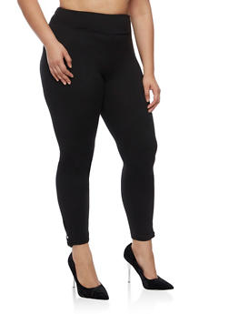Plus Size Soft Knit Leggings with Lattice Detail - 3961060581250