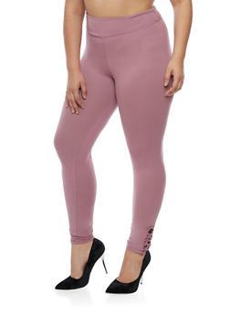Plus Size Soft Knit Leggings with Lattice Detail - 3961060581250