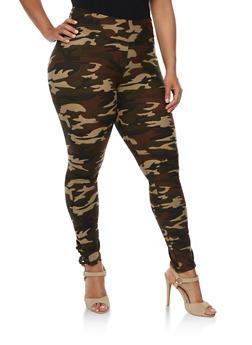 Plus Size Lattice Cut Printed Leggings - 3961060582374