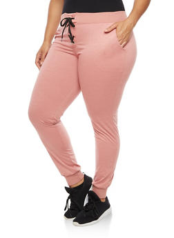 Plus Size Lace Up Joggers - 3961062700087