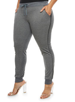 Plus Size Joggers with Contrast Piping - 3961062700875