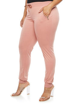 Plus Size Zip Pocket Joggers - 3961062700876