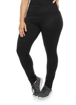 Plus Size Ponte Knit Tummy Tuck Leggings - 3961062707653