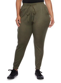 Plus Size Knit Joggers with Pockets - 3961072311114