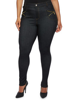 Plus Size Jeggings with Zip Accents Crystal Rivets - 3961072710021