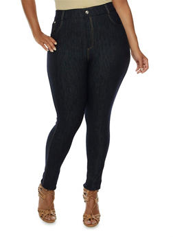 Plus Size Jeggings with Crystal Accents - 3961072710125