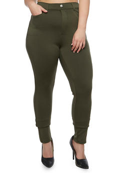 Plus Size Solid Jeggings - 3961072710347
